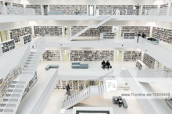 City library  interior view  architect Eun Young Yi  Stuttgart  Baden-Württemberg  Germany  Europe