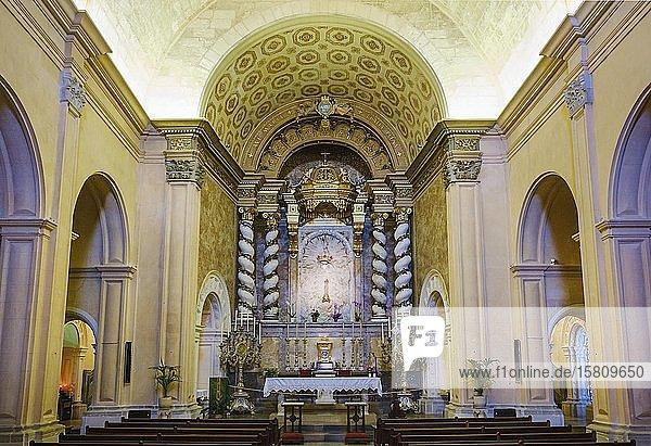 Altar der Klosterkirche  Kloster Santuari de Sant Salvador auf dem Puig de Sant Salvador  bei Felanitx  Region Migjorn  Mallorca  Balearen  Spanien  Europa