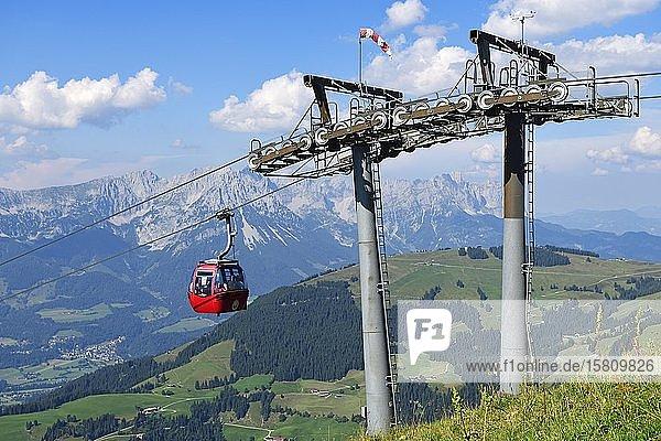 Cable car from Söll to the Hohe Salve  Hopfgarten  Brixental  Kitzbühel Alps  Tyrol  Austria  Europe