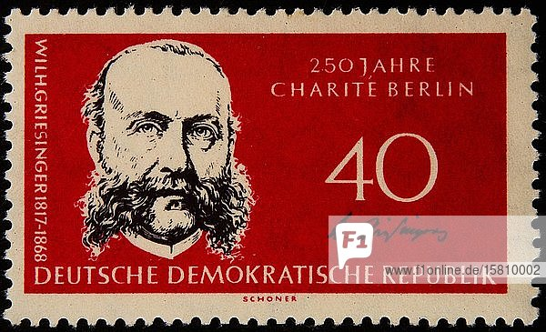 Wilhelm Griesinger  ein deutscher Neurologe und Psychiater  Porträt auf einer deutschen Briefmarke