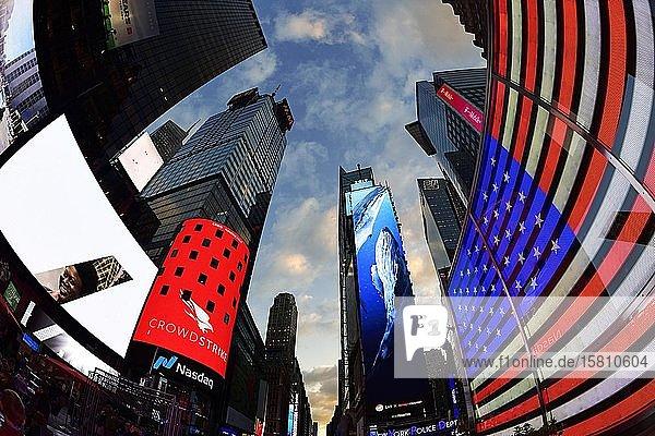 Illuminated signs in Times Square  Manhattan  New York City  USA  North America