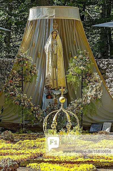 Madonnenstatue  Blumenteppich mit goldener Marienkrone  Mariengrotte im Wald  Wallfahrtsort Maria Vesperbild  Ziemetshausen  Günzburg  Schwaben  Bayern  Deutschland  Europa