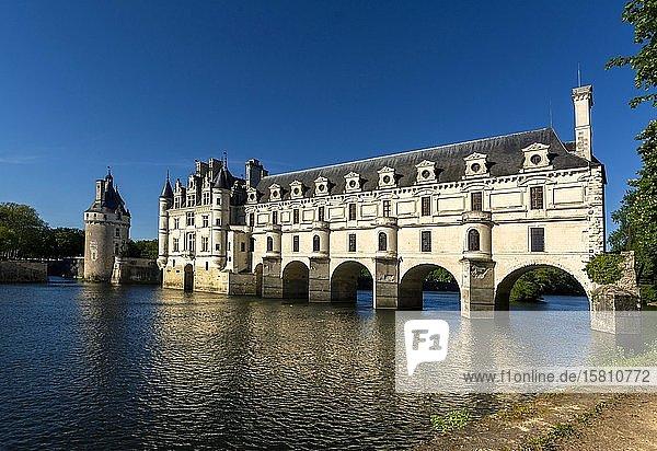 Schloss Chenonceau überspannt den Fluss Cher  Loiretal  Departement Indre-et-Loire  Centre-Val de Loire  Frankreich  Europa