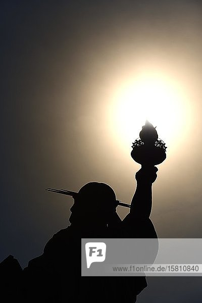 Statue of Liberty holds her torch into the sun  Lady Liberty  Liberty Island  New York City  New York State  USA  North America