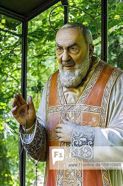 Hölzerne Statue des Pater Pio von Pietrelcina  Wallfahrtsort Maria Vesperbild  Ziemetshausen  Günzburg  Schwaben  Bayern  Deutschland  Europa
