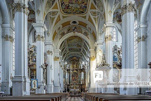 Langhaus und Chor mit Hochaltar  ehemalige Klosterkirche St. Sebastian  Altstadt  Ebersberg  Oberbayern  Bayern  Deutschland  Europa