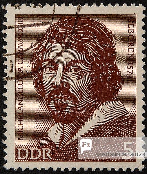 Michelangelo de Caravaggio  ein italienischer Maler  Porträt auf einer deutschen Briefmarke