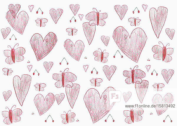 Childs drawing of red hearts and butterflies on white background