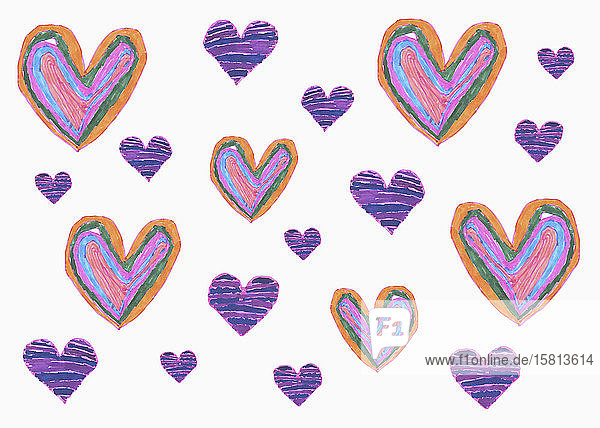 Drawing of purple hearts on white background