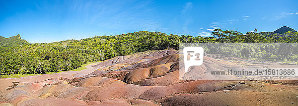Panoramic of The Seven Colored Earth Geopark  volcanic geological formations  Chamarel  Black River  Mauritius  Indian Ocean  Africa