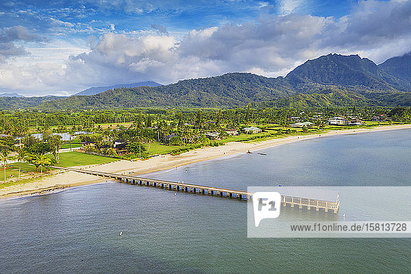 Aerial view by drone of Hanalei Bay pier  Kauai Island  Hawaii  United States of America  North America