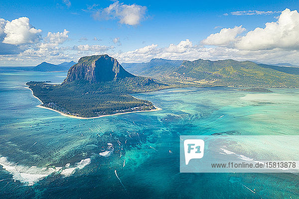 Aerial view of Le Morne Brabant and the Underwater Waterfall optical illusion and natural phenomena  Mauritius  Indian Ocean  Africa