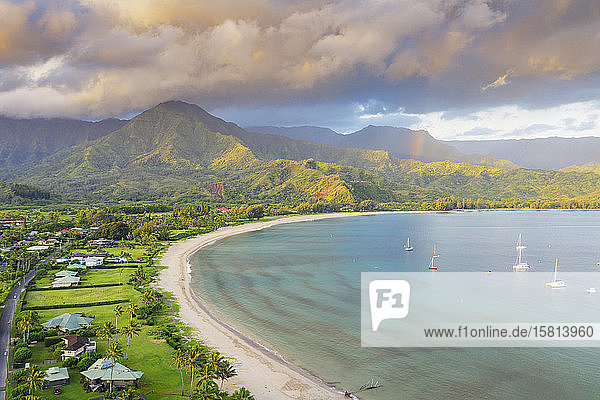 Aerial view by drone of Hanalei Bay  Kauai Island  Hawaii  United States of America  North America