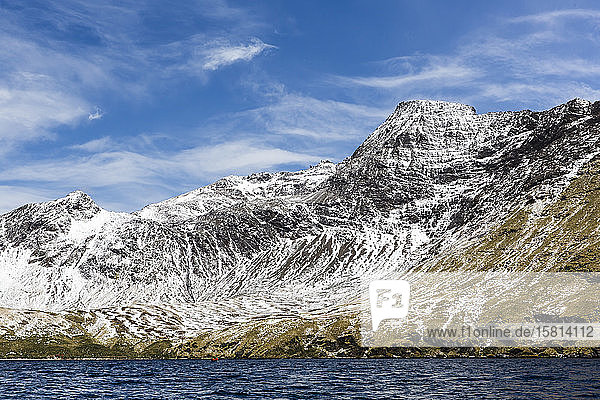 Fresh dusting of snow on the mountains surrounding Godthul  South Georgia  UK Overseas Protectorate  Polar Regions