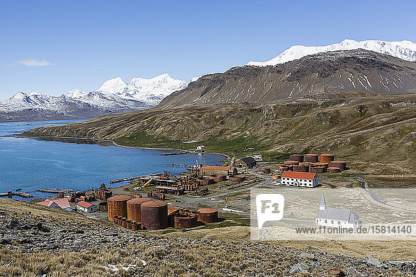 The abandoned Norwegian whaling station at Grytviken  now cleaned and open to tourism  South Georgia Island  Polar Regions