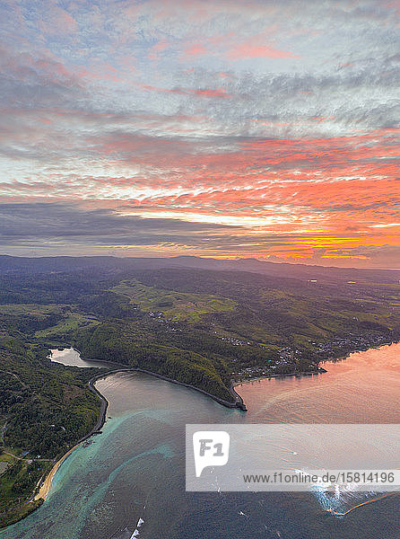 Sunrise over the ocean along south coast  aerial view by drone  Baie Du Cap  Mauritius  Indian Ocean  Africa