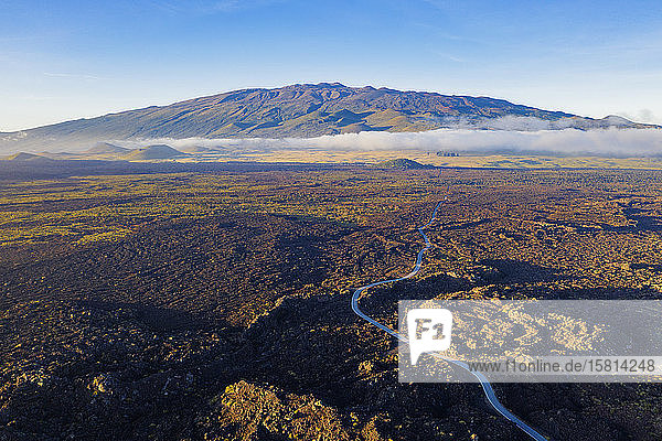 Aerial view of volcanic landscape and Mauna Kea  4207m  Big Island  Hawaii  United States of America  North America