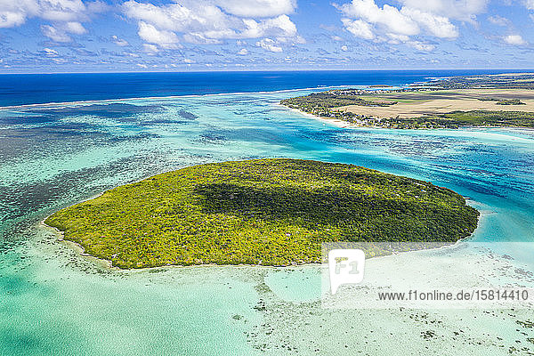 Lush vegetation on Ile aux Aigrettes atoll in the turquoise lagoon  aerial view by drone  Pointe d'Esny  Mahebourg  Mauritius  Indian Ocean  Africa