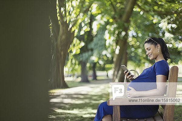 Smiling pregnant woman texting with cell phone on park bench