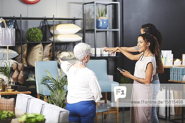 Women shopping in home decor shop