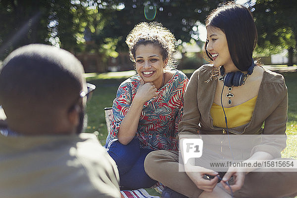 Smiling young friends talking  hanging out in sunny summer park Smiling young friends talking, hanging out in sunny summer park