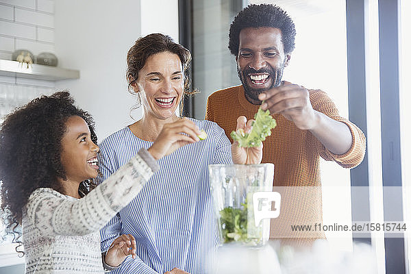 Multi-ethnic family making healthy green smoothie in blender in kitchen