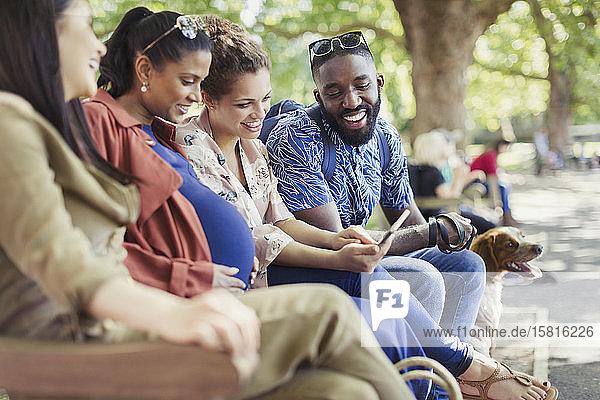 Smiling friends using digital tablet on park bench