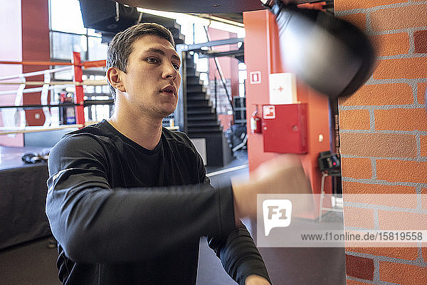 Young man exercising at punch bag in boxing club