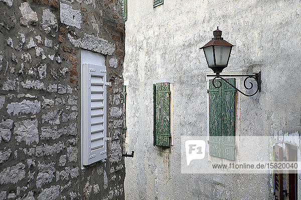Croatia  Istria  Rovinj  Old buildings in the city with street lamp