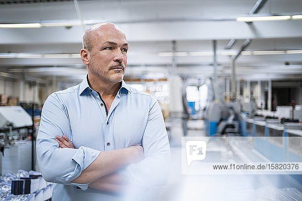 Porträt eines seriösen Geschäftsmannes in einer Fabrik