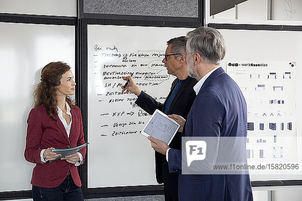 Two businessmen and businesswoman working together on a project in office