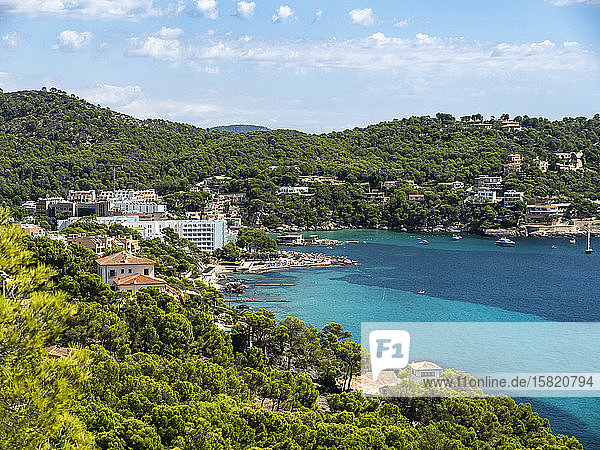 Spain  Balearic Islands  Camp de Mar  Coastal town in summer with forested hills in background