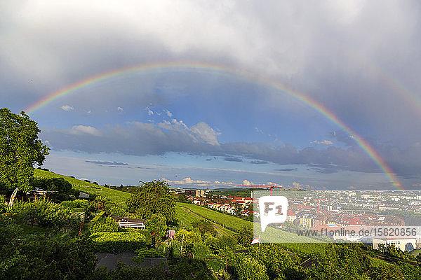 Deutschland  Bayern  Würzburg  Regenbogen über Hangweinberg