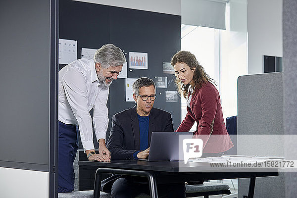 Two businessmen and businesswoman working together on laptop in office