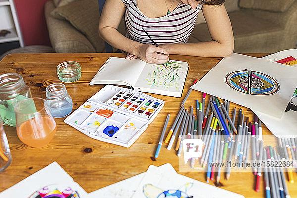 Schrägansicht einer Frau  die mit Aquarellfarben malt
