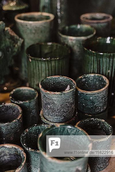 Grüne Keramikwaren  Essaouira  Marokko