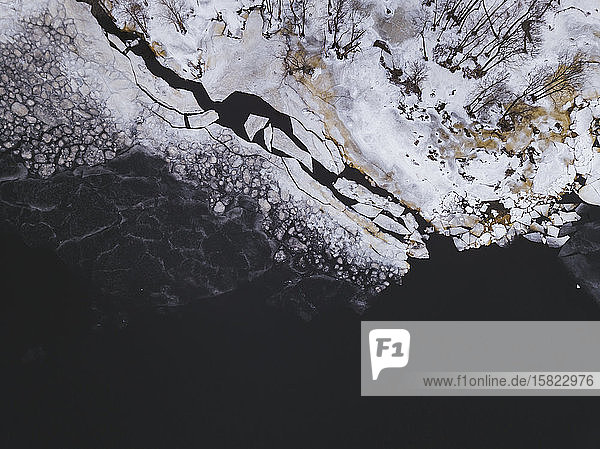 Russia  Saint Petersburg  Sestroretsk  Aerial view of icy shore of Gulf of Finland