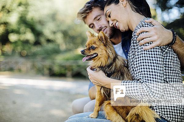 Glückliches junges Paar mit Hund in einem Park