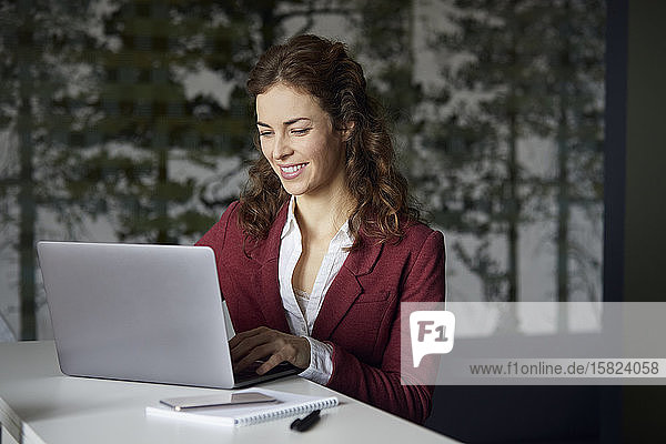 Smiling businesswoman using laptop in office