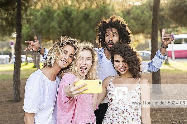 Glückliche Freunde  die ein Selfie im Freien machen