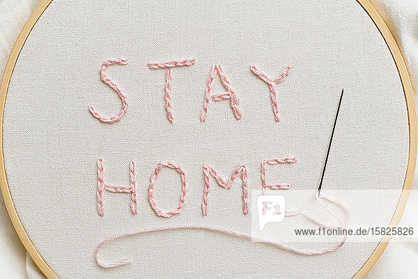Stay Home embroidery