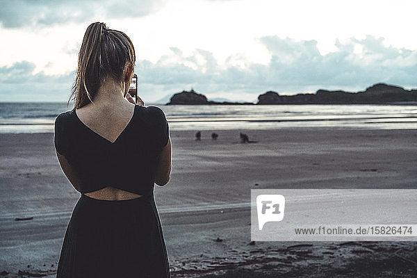 Rückansicht einer jungen Frau  die Fotos von Kängurus am Strand macht