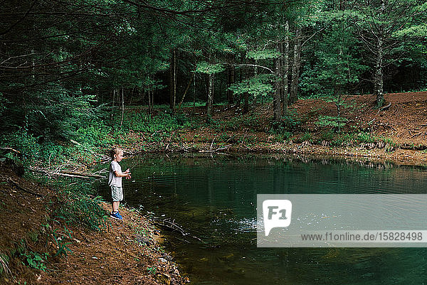Little boy throwing sticks and rocks into a pond.