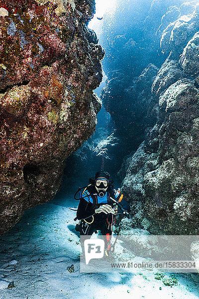 Taucher bei der Erkundung eines Canyons am Grossen Barriereriff in Australien