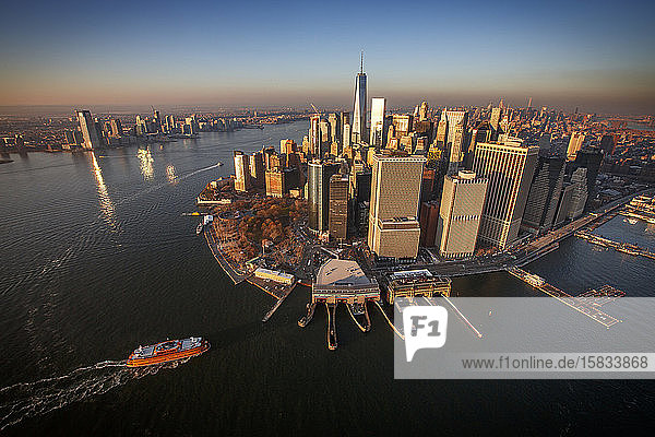 Sunset on the Manhattan skyline and Financial District  New York City