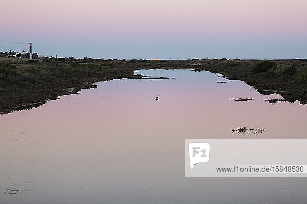 Sunset at the Ria Formosa near Olhao  Portugal
