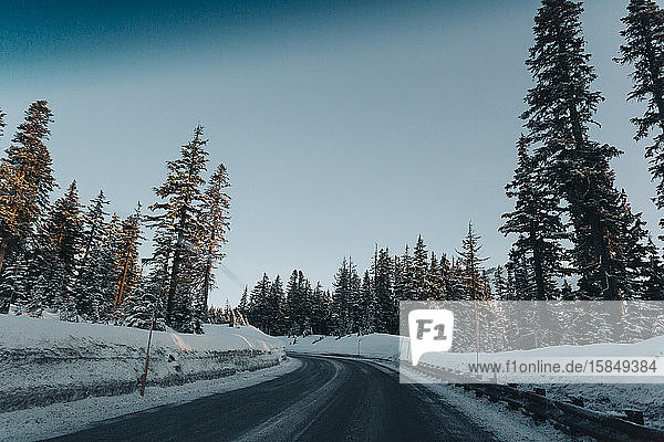 A road on a winter morning as seen through the windshield.