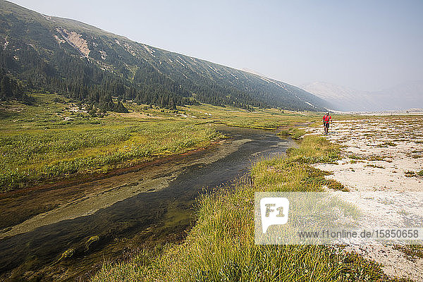 Wanderer  der im Alpental am Bach entlang wandert.