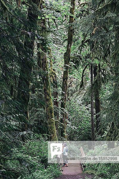 Ein junges Paar genießt eine Wanderung in einem Wald im pazifischen Nordwesten.