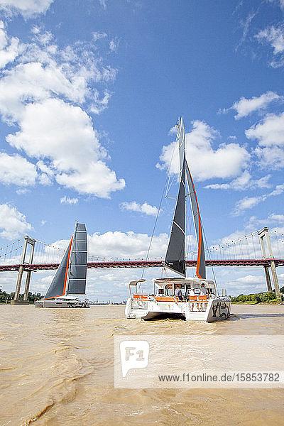 Two luxurious catamarans cruising on the Garonne river  Bordeaux  Gironde  France.